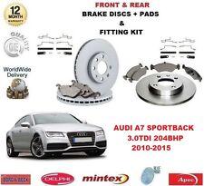 Para Audi A7 3.0 TDI 2010-2015 Delantero + Trasero Discos De Freno & Almohadillas + Kit de montaje