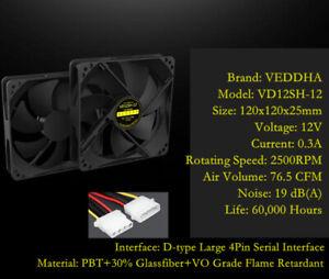 VEDDHA VD12SH CPU Fan Cooling Case Fan 2500rpm 12V 4-Pin 120mm Cooler Black Lot