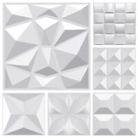 3D PVC Wall Panels White Diamond Design Waterproof Wallpaper 24/36 Tiles 35 Sqft