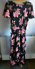 Vintage Multi Couche Noir Mélange Robe Avec Ceinture, Taille 12, Lavable en Machine