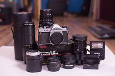 Pentax K1000 SLR Film Camera, Flash, FIVE LENSES, and more