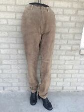 Ralph Lauren Camel Beige Lt. Brown SUEDE PANTS 8  Leather Jeans Lined Polo NICE!