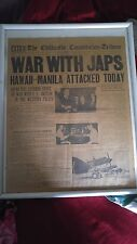 authentic front page newspaper from december7 1941 Hawaii Bombed. Framed