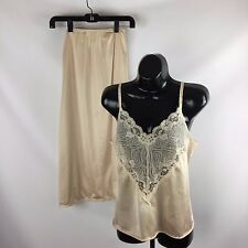 Womens Lace Camisole Sz 32 and Long Slip Sz 30 Champagne Color Nylon