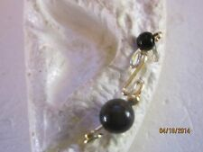 Pr Black Beads W/Small Silver/Gold  Beads Ear Vines, Sweeps, Pins Earrings #6