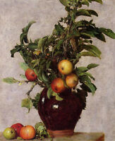 Beautiful Oil painting Henri Fantin Latour - Vase with Apples and Foliage canvas