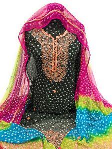 Pakistani Women Pure Chiffon Chunri Suit Unstitched Gotta Work Fancy Ladies Suit