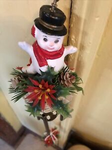 Vintage Christmas Windchime Snowman Blow mold Hong Kong Pine Come Plastic Cute