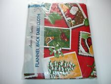 "New! Vinyl Postage Stamps Christmas Tablecloth Kitchen Dining Oblong 52"" x"