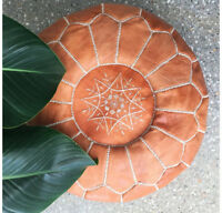 GENUINE EMBROIDERED LEATHER MOROCCAN POUF POUFFE HANDMADE OTTOMAN LIGHT TAN