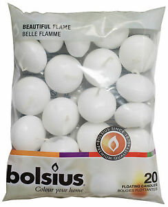PREMIUM BOLSIUS FLOATING CANDLES 20 PACK 4.5HOUR BURN TIME 2 COLOURS