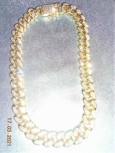 VINTAGE heavyweight gold tone  chain with crystals  Pure bling EXC COND.