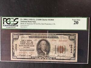 RARE 1929 $100 NBN San Francisco TYPE 2 PCGS VF20