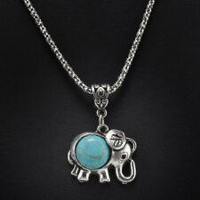 Stylish Bib Necklace with Tibetan Silver Turquoise Elephant Pendant (45+6cm)