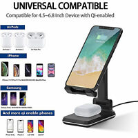 For iPhone 12/11 Pro Max/XR/Xs Max Qi Wireless Fast Charger Charging Dock Stand