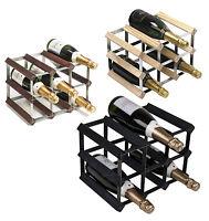 RTA 9 Bottle Traditional Wooden Wine Rack Natural / Dark / Black Ash Pine
