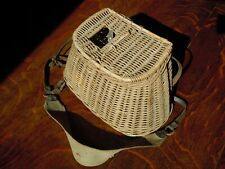 Vintage Wicker and Canvas Fly Fishing Basket or Creel