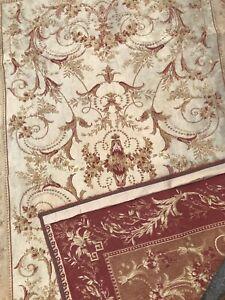 Laura Ashlley Vintage Malmaison Rasberry Red Gold Cotton / Wool Rug Mat