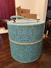 Vintage Tall Blue Green Geometric Hat Wig Box Train Case Travel Bag Swift