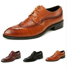 Brogue Mens Dress Formal Business Shoes Pointy Toe Wing Tip Carved Work Office D