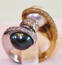 ALISHAN DESIGN:  Unique Two Tone 18kt Gold Diamond, Black & White Pearl RING