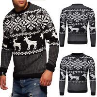 Men Christmas Sweater Cotton Knit Reindeer Elk Long Sleeve Sweater Top GEMS