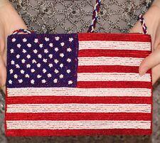 Judith Leiber LOGO CANVAS & LEATHER SHOULDER BAG CROSS BODY MONOGRAM BEADED FLAG
