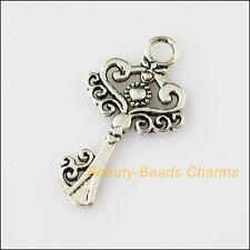 8 New Flower Heart Key Tibetan Silver Tone Charms Pendants 17.5x33mm