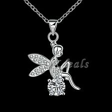 Women Jewelry 925 Sterling Silver Rhinestone Stylish Angel Wing Pendant Necklace