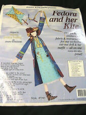 FEDORA & HER KITE cloth art doll fabric~instructs~EASY SEW PANEL *RARE & OOP