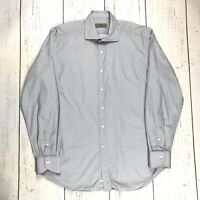 Canali Men's Button Front Shirt Size L Large Geometric Pattern Made In Italy