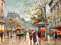 France streetcar scene oil painting Giclee Art Printed on canvas L1099