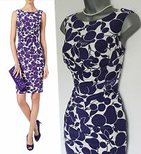 Phase Eight Violet Ivory Tuti Printed  Silky Jersey Stretch Pencil Dress 10 £99
