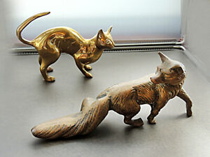 Brass Fox & Cat  Two Heavy Brass Ornaments