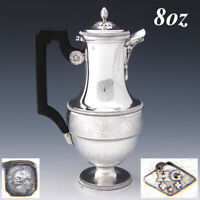 "Antique French Sterling Silver 8oz ""Solitaire"" or Bachelor Sized Teapot, Coffee"