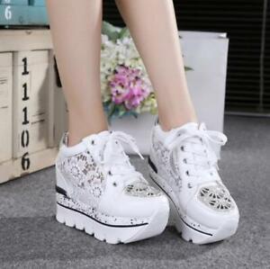 Women 10CM High Hidden Wedge Heel Platform Sneaker Mesh Hollow Out Casual Shoes