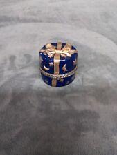 Collectable Porcelain Blue Present Pill/Trinket Box