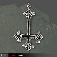 Kette Anhänger Edelstahl Echt Et Nox Gothic Kreuz Inverted Cross 326A Onyx NEU