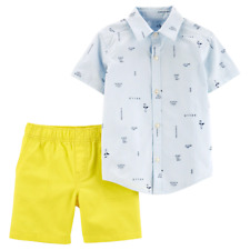 2 Piece Carter's Boys Outfit, Size 2T, Button Shirt & Shorts, Blue Yellow B20 MP