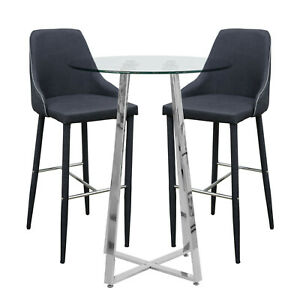 Clear Glass Poseur Table With Two Charcoal Duncan Bar Stools