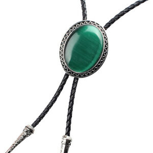 Retro Western Necktie Fashion Natural Green Opal Braided Leather Bolo Ties