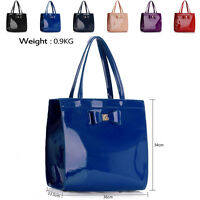 New Large Designer Ladies Shoulder Bag Faux Patent Leather Women Tote Handbag A4