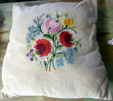 "LOVELY Vintage Floral Hand Embroidered Pillow Made in Hungary Cottage 15"" x 15"""