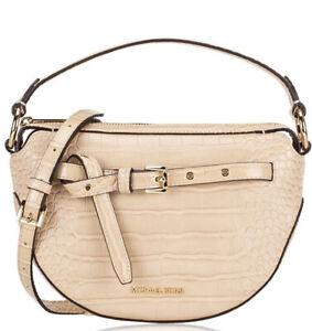 Michael Kors Emilia Half Moon Small  Logo Shoulder Bag crossbody In Buff