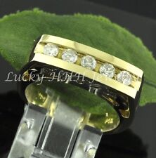 14k 2 tone Gold 0.50 ct Natural Diamond RIng Channel set 5 stone