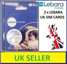 2 x BRAND NEW LEBARA MOBILE PAY-AS-YOU-GO Trio-SIM CARD (Standard/Micro/Nano)