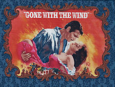 Gone With the Wind PLAYBILL SCENES Blue Damask Rhett Scarlett 1/3 YD Panel
