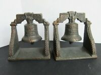 Liberty Bell Bookends - Cast Iron - Bronzed Tone - CT Copyright