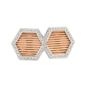 14K White Rose Gold Diamond Cufflinks 0.35ct TDW