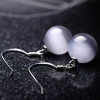 1 Pair Elegant Hook Silver Plated White Spherical Opal Ear Stud Earrings Jewelry